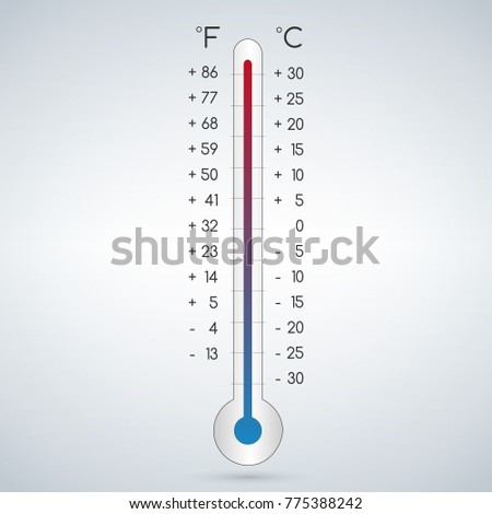 Celsius and fahrenheit meteorology thermometers measuring heat and cold, vector illustration.