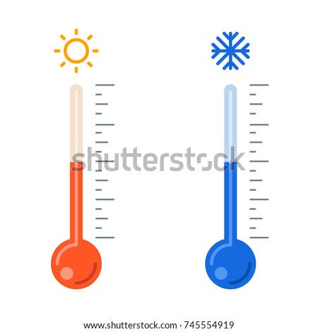 Celsius and fahrenheit meteorology thermometers. Vector flat illustration