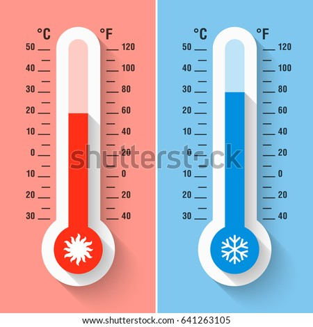 Celsius and Fahrenheit thermometers measuring heat and cold temperature, meteorology equipment, vector illustration.
