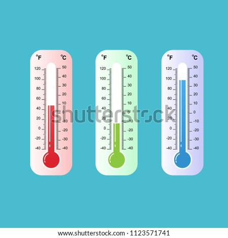Celsius and Fahrenheit thermometers. Vector, Celsius and fahrenheit meteorology thermometers measuring heat and cold