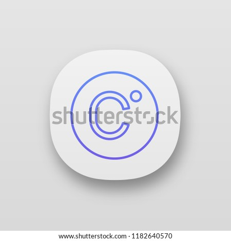 Celsius degrees temperature app icon. Centigrade scale. Celsius. UI/UX user interface. Web or mobile application. Vector isolated illustration