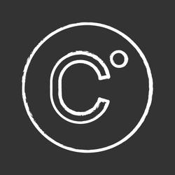 Celsius degrees temperature chalk icon. Centigrade scale. Celsius. Isolated vector chalkboard illustration