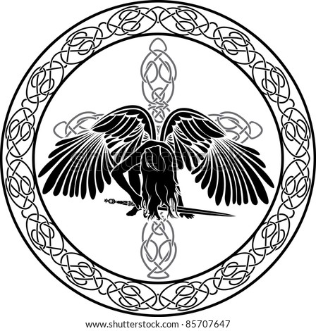 Celtic angel in ornamental circle with cross