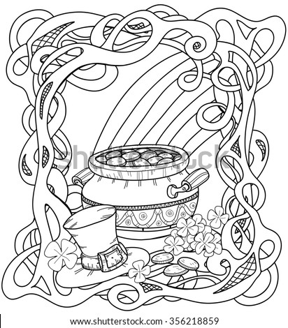 celtic coloring page with pot of gold rainbow leprechaun hat and clovers - Coloring Pages Rainbow Pot Gold