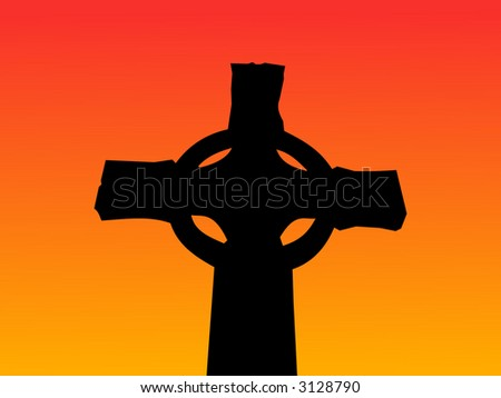celtic cross at sunset with