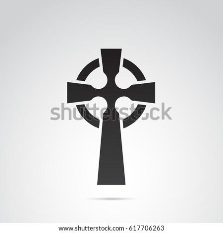 Celtic cross icon isolated on white background. Stock photo ©