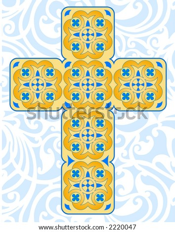 Celtic Cross with in blues and earth tones - VECTOR
