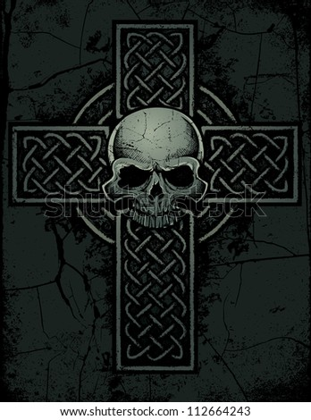 celtic cross with skull