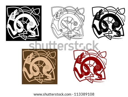 Celtic Dog With Knots For Ornate And Decoration, Such A Logo450