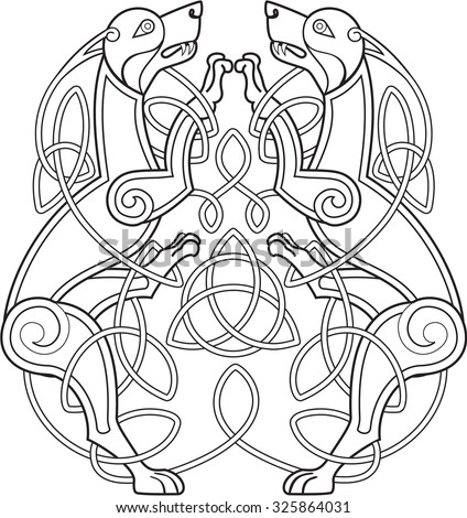 celtic dog with knots is on