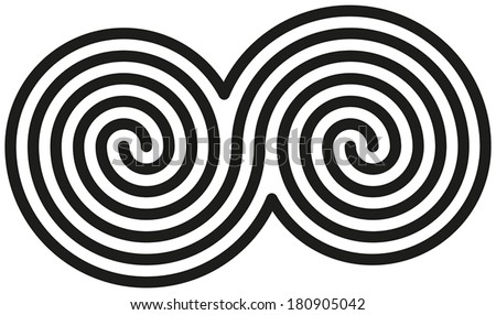 celtic double spirals   white