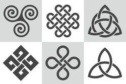 Celtic knot. Collection of vector patterns. Stylized endless knots used for decoration in Celtic Insular art.  Interlace patterns with abstract elements for traditional tattoo design. Sacred ornament.