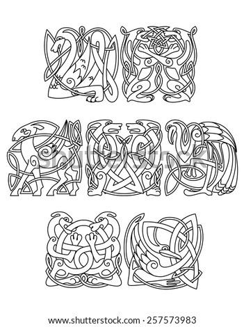 celtic mythological dragon dogs wolves goat heron stork decorated traditional ethnic. Black Bedroom Furniture Sets. Home Design Ideas