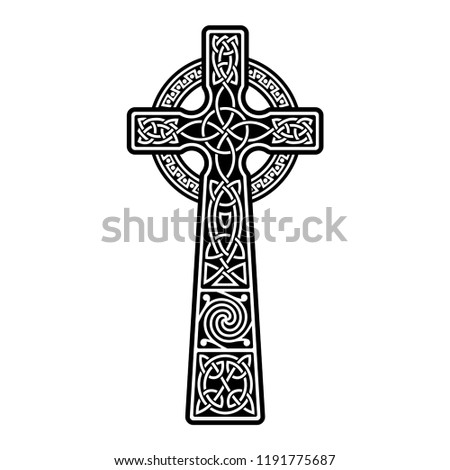 Celtic ornament in the form of a cross. Isolated black vector on white background.