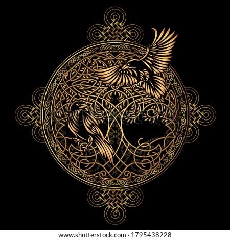 Celtic sacred symbols - Yggdrasil tree of life and totem birds raven Huginn and Muninn ravens of Odin Stock photo ©