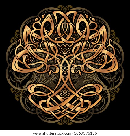 Celtic sacred symbols - Yggdrasil tree of life and totem birds raven Huginn and Muninn ravens of Odin