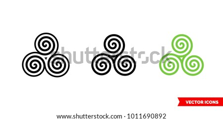 celtic spiral icon of 3 types