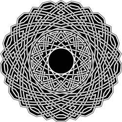 Celtic star circular pattern with tridecagon geometric shape clock pattern inside huge poligon with floral vortex vector pentagram background