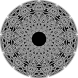 Celtic star circular pattern with tridecagram geometric shape clock pattern inside huge tridecagon with floral vortex vector pentagram background