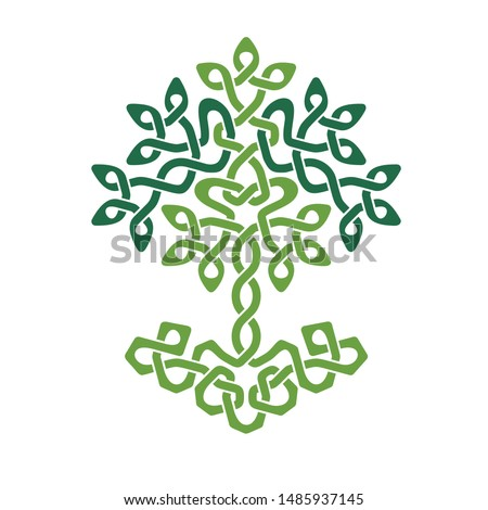 Celtic Tree of Life, green weaved ornament