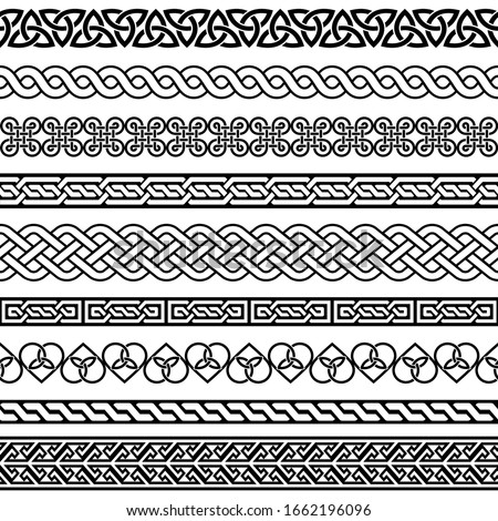 Celtic vector semaless border pattern collection, Irish braided frame designs for greeting cards, St Patrick's Day celebration. Retro Celtic collection of braided ornaments in black and white Stock photo ©