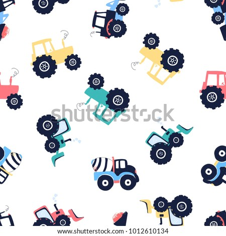 Cement mixer, vehicle and tractor hand drawing illustration pattern.