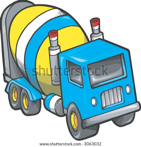 Cement Truck Vector Illustration