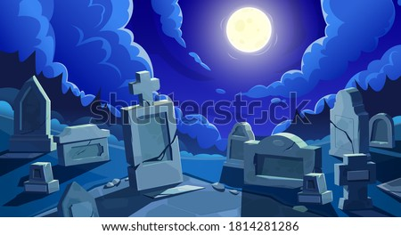 Cemetery at night with full moon, vector graveyard with tombstones and cracked stone crosses. Old creepy grave tombs at nighttime under cloudy sky at twilight. Cartoon memorials at spooky cemetery Stockfoto ©