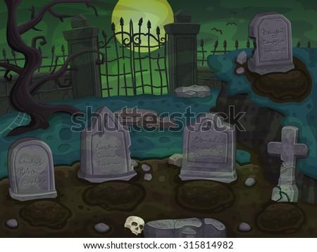cemetery cartoon background