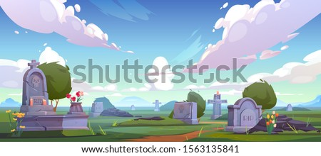 Cemetery, graveyard with tombstones, cracked crosses with rip signature, extinguished candles and flowers. Old and fresh creepy grave tombs on green grass at day time. Cartoon vector illustration