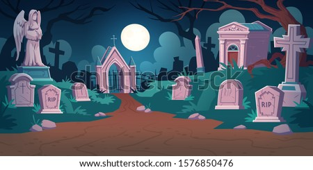 cemetery landscape at night