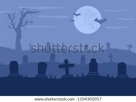 Cemetery or graveyard dark background. Silhouettes of tombstones and tree. Color vector illustration for Halloween posters or banners