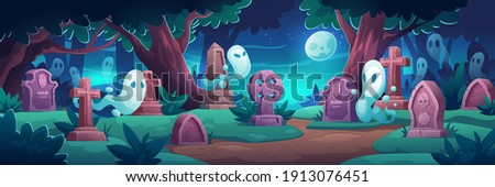 cemetery with ghosts at night