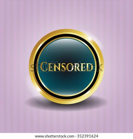 Censored gold badge or emblem