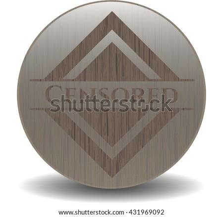 Censored wooden emblem