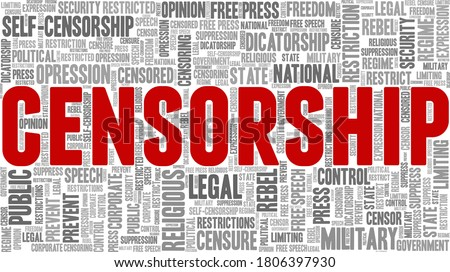 Censorship vector illustration word cloud isolated on a white background. Stock photo ©