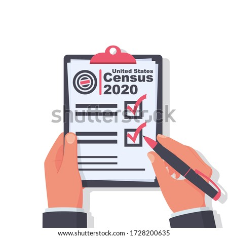 Census 2020. The process of collecting and analyzing population demographic data. A government worker makes a census. Clipboard in pen in hand. Vector illustration flat design. Folder with documents. Stockfoto ©