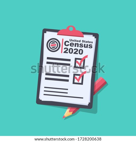 Census 2020. The process of collecting and analyzing population demographic data. Folder with documents and pencil. Vector illustration flat design. Isolated on background. Stockfoto ©