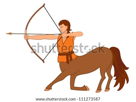 Centaur shooting from bow as Sagittarius zodiac sign