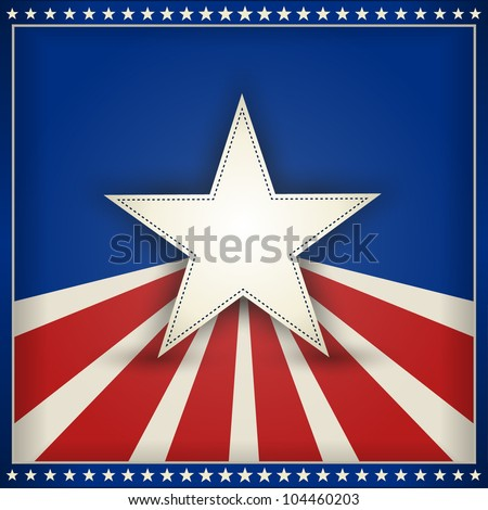 center star on blue background