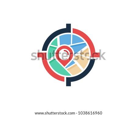 Center Target Map Icon Logo Design Element