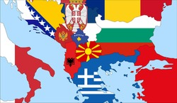 Center the map of North Macedonia. Vector maps showing North Macedonia  and neighboring countries. Flags are indicated on the country maps, the most recent detailed drawing.