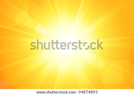 Centered yellow orange summer sun light burst. If you enjoy the hot and glittering summer sun, that is the background with space for your message. EPS10