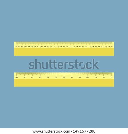 Centimeter ruler and Inch ruler, vector illustration