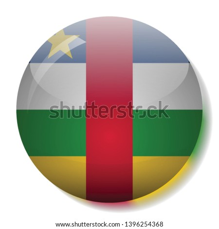 Central African Republic flag glass button vector illustration