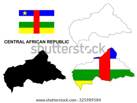 Central African Republic map vector, Central African Republic flag vector, isolated Central African Republic
