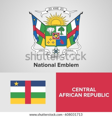 Central African Republic National Emblem and flag