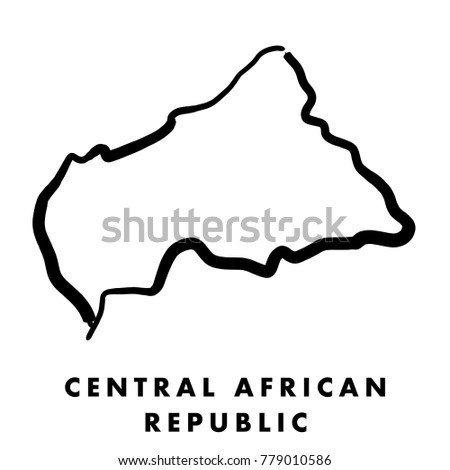 Central African Republic simple map outline - smooth simplified country shape map vector.