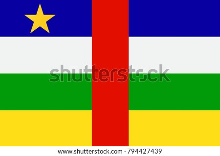 Central African Republic state flag. Vector illustration.