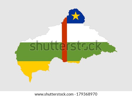 Central african republic vector map and flag isolated on white background. High detailed illustration.